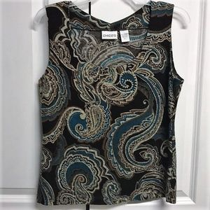 Chico's Cami Tank Size S Knit Paisly Design